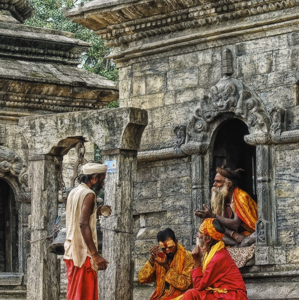 Locals at the Monkey Temple in Kathmandu